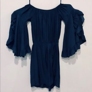 Strapless Navy Dress with Ruffle Sleeves